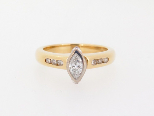 Vintage 0.32ct Diamond Set 18k Yellow Gold Ladies Ring Size H Val $3030