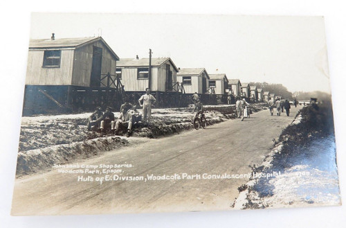 WW1superb real photo postcard. Huts of E. Division, Woodcote Park Hospital UK