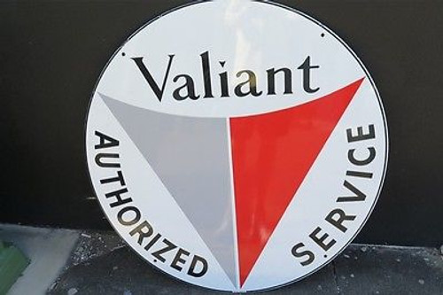 BRISBANE VINTAGE OLD SIGN DEALER 1960s VALIANT SUPER RARE NEW OLD STOCK LARGE ENAMEL ADVERTISING SIGN