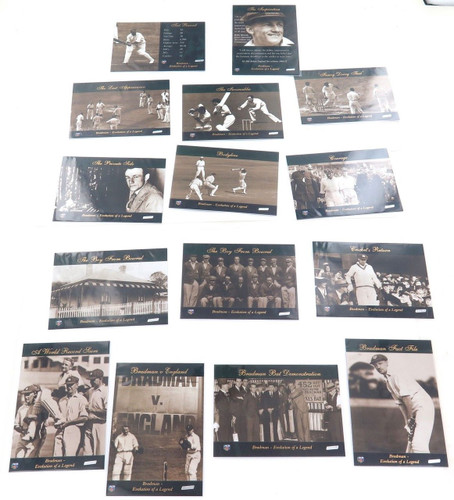 "Full set 15 cards - Don Bradman ACB Platinum ""Bradman. Evolution of a legend"""