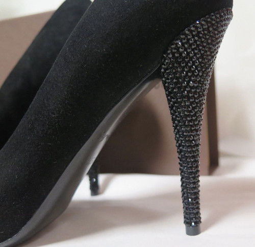 Louis Vuitton Black 4.5 inch Crystal Heels in Size 39.5 Worn Once In Box