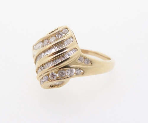 0.60ct Diamond Channel Set 14k Yellow Gold Bow Dress Ring Size P 1/2 Val $2810