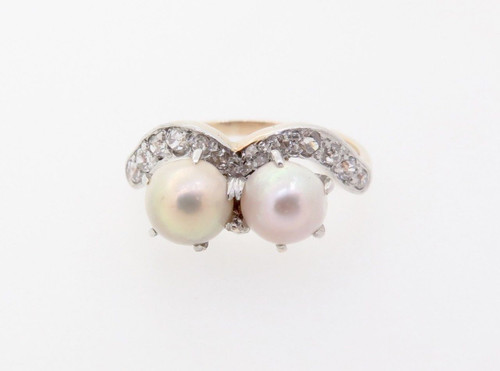 Vintage Natural Pearl & Old Cut Diamond 14k Gold Platinum Ring Size N Val $2965