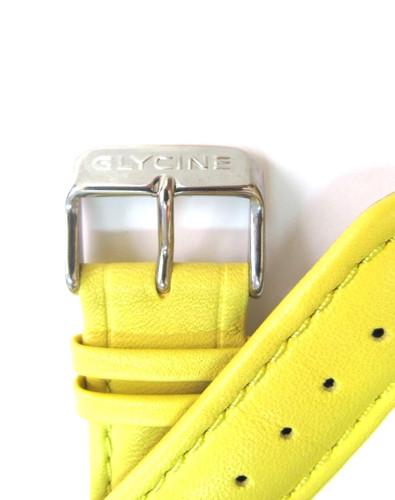 22MM HIGH GRADE YELLOW LEATHER STRAP & STEEL BUCKLE BY GLYCINE #U