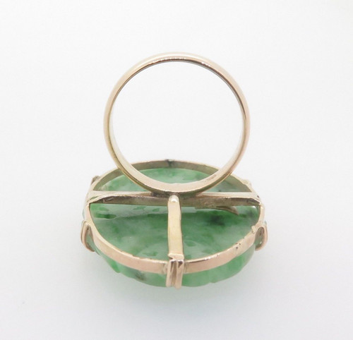 Carved Jadeite Handmade 14ct Yellow Gold Ladies Dress Ring Size O Val $2900