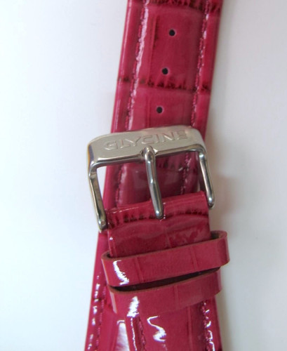 22MM XLONG GERMAN MADE PINK GLOSS LEATHER STRAP & STEEL BUCKLE BY GLYCINE #P