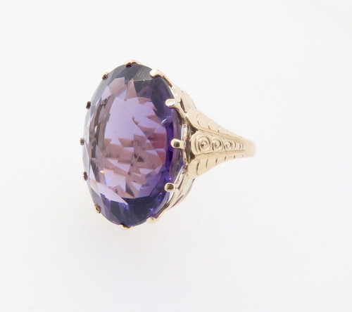 Large Oval Brilliant Cut Amethyst 14ct yellow Gold Cocktail Ring Val $5485