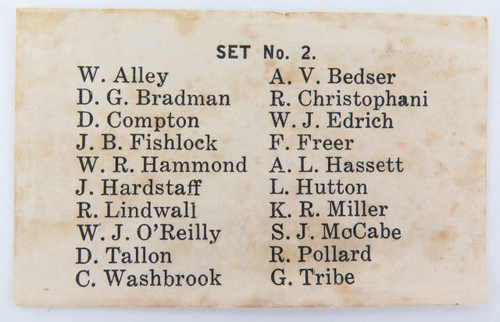 c1946 SUPER RARE BRADMAN COLLECTABLE. CHECK LIST #2 G J COLES CRICKETERS CARDS