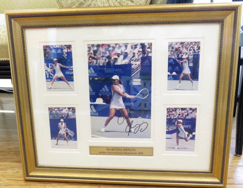 QUALITY 2002 LARGE MARTINA HINGIS FRAMED DISPLAY. ADIDAS INTERNATIONAL HOMEBUSH.