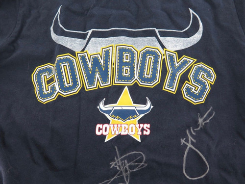 NORTH QLD COWBOYS SIGNED SUPPORTERS SHIRT. 5 SIGNATURES. THURSTON ETC