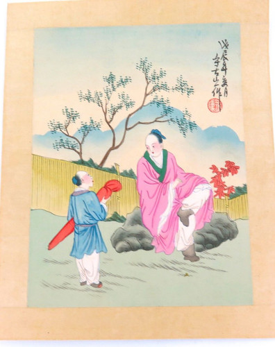 SUPERB VINTAGE JAPANESE COLOURED ENGRAVING ON SILK?, SIGNED #4