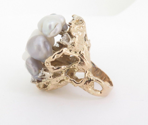 A Large Baroque Cultured pearl & Diamond 14k Gold Dress ring Size K Val $6900