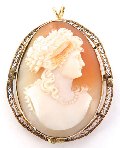 ANTIQUE 14K GOLD / LARGE HEAVY SET 17 GRAMS CAMEO BROOCH PENDANT.