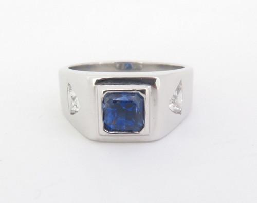 A Gentlemen's Platinum Ceylon & Trilliant Cut Diamond Ring Size S Val $15220