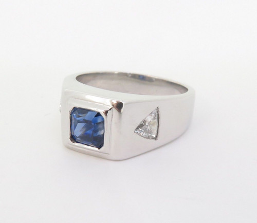 A Gentlemen's Platinum Ceylon & Trilliant Cut Diamond Ring Size S Val $15220