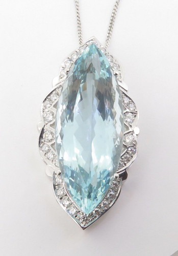 Impressive 38ct Aquamarine & 0.66ct Diamond 18K Gold Pendant & Chain Val $24500