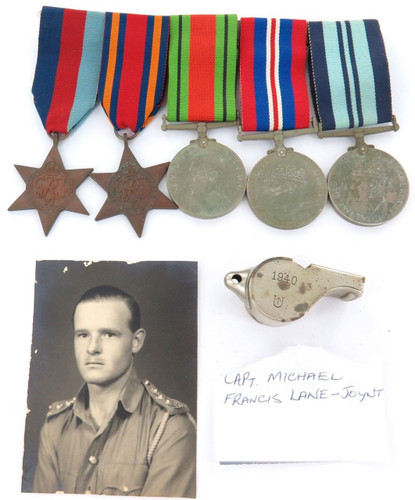 BRITISH WW2 MEDAL GROUP, PHOTO & WHISTLE. CAPTAIN MICHAEL FRANCIS LANE-JOYNT.