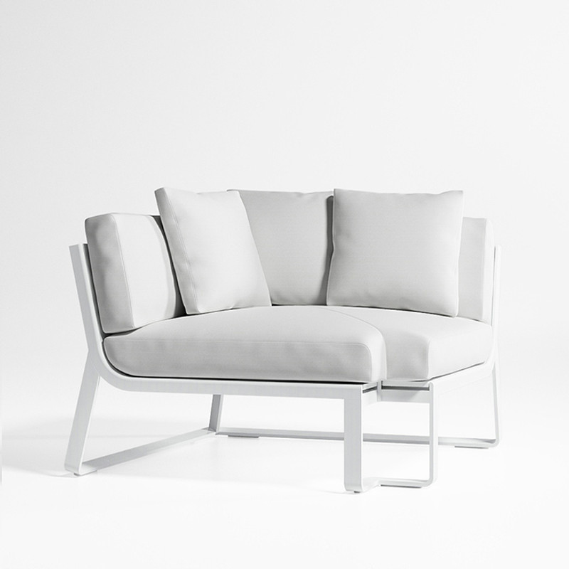Gandiablasco Sofa Flat Modular 6. Made of thermo-lacquered aluminium profiles and 100% recyclable polyethylene. Polyurethane foam rubber covered with water-repellent fabric. Removable fabric cover.  NOTE: No special sizes available in this collection.