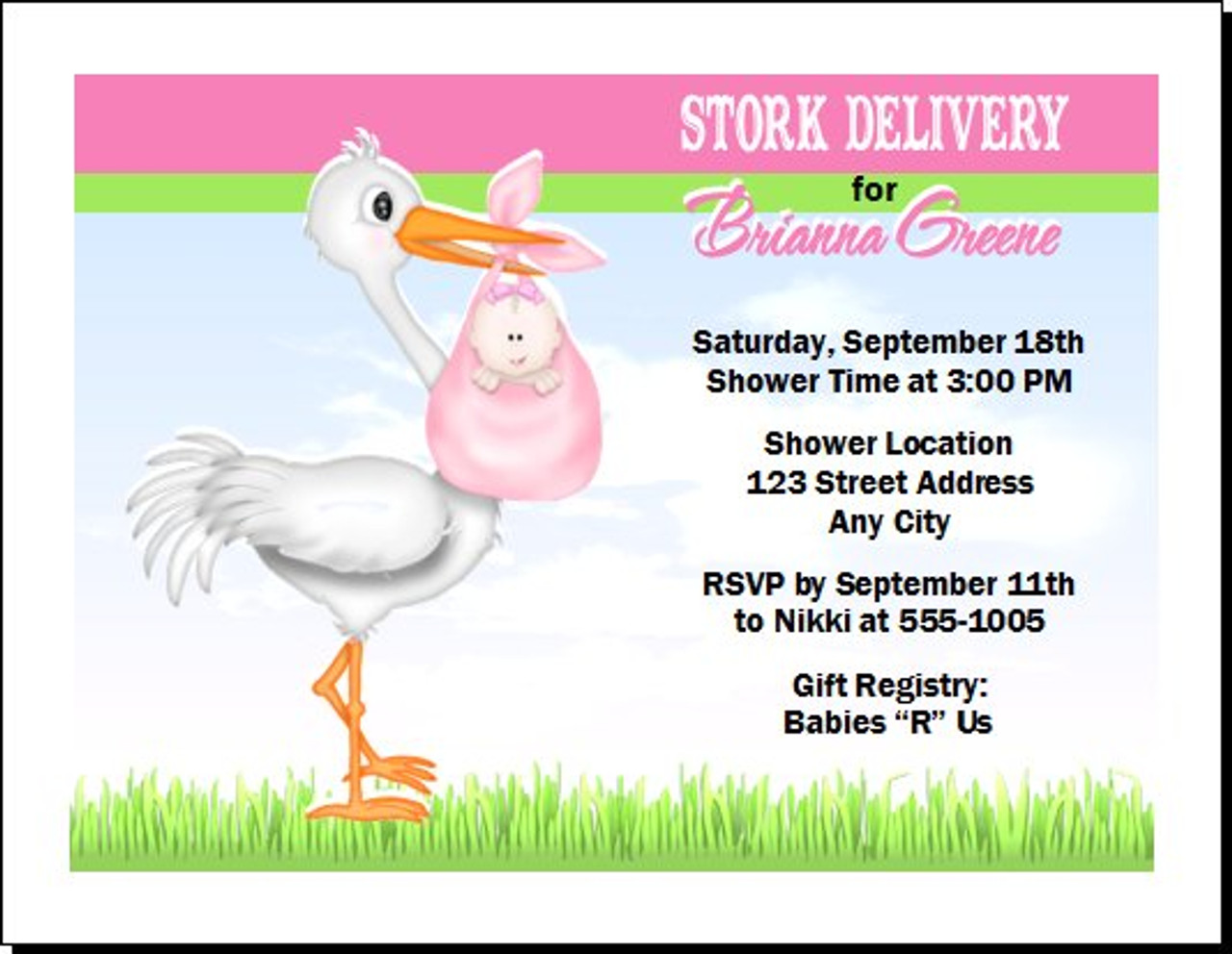 Pink stork baby shower invitation pink stork baby shower invitation choice of skin color multiple babies set of filmwisefo