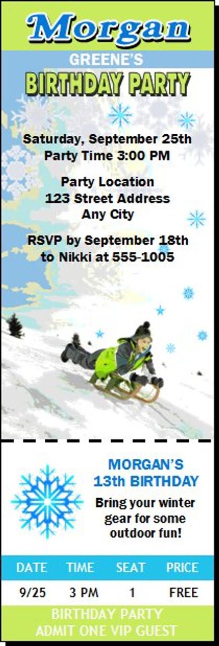 Snow Sledding Birthday Party Ticket Invitation