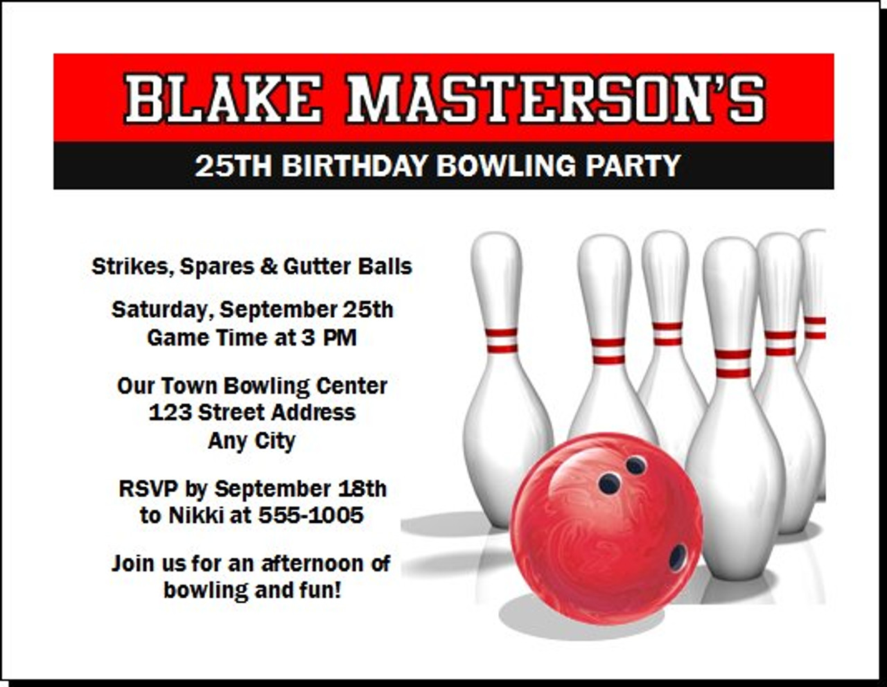 Bowling birthday party invitation stopboris Image collections