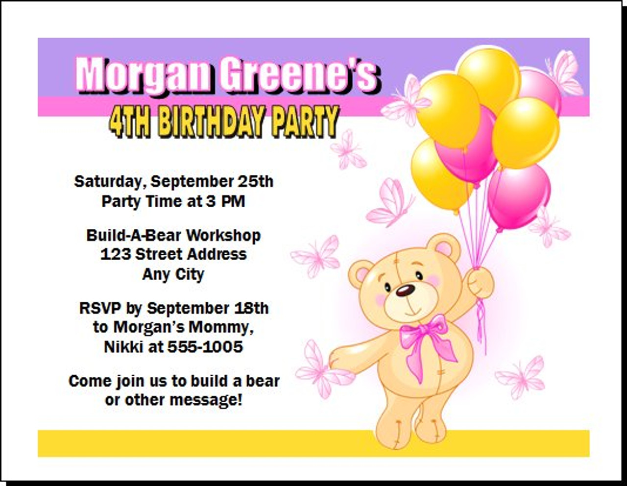 Build a Teddy Bear Birthday Party Invitation