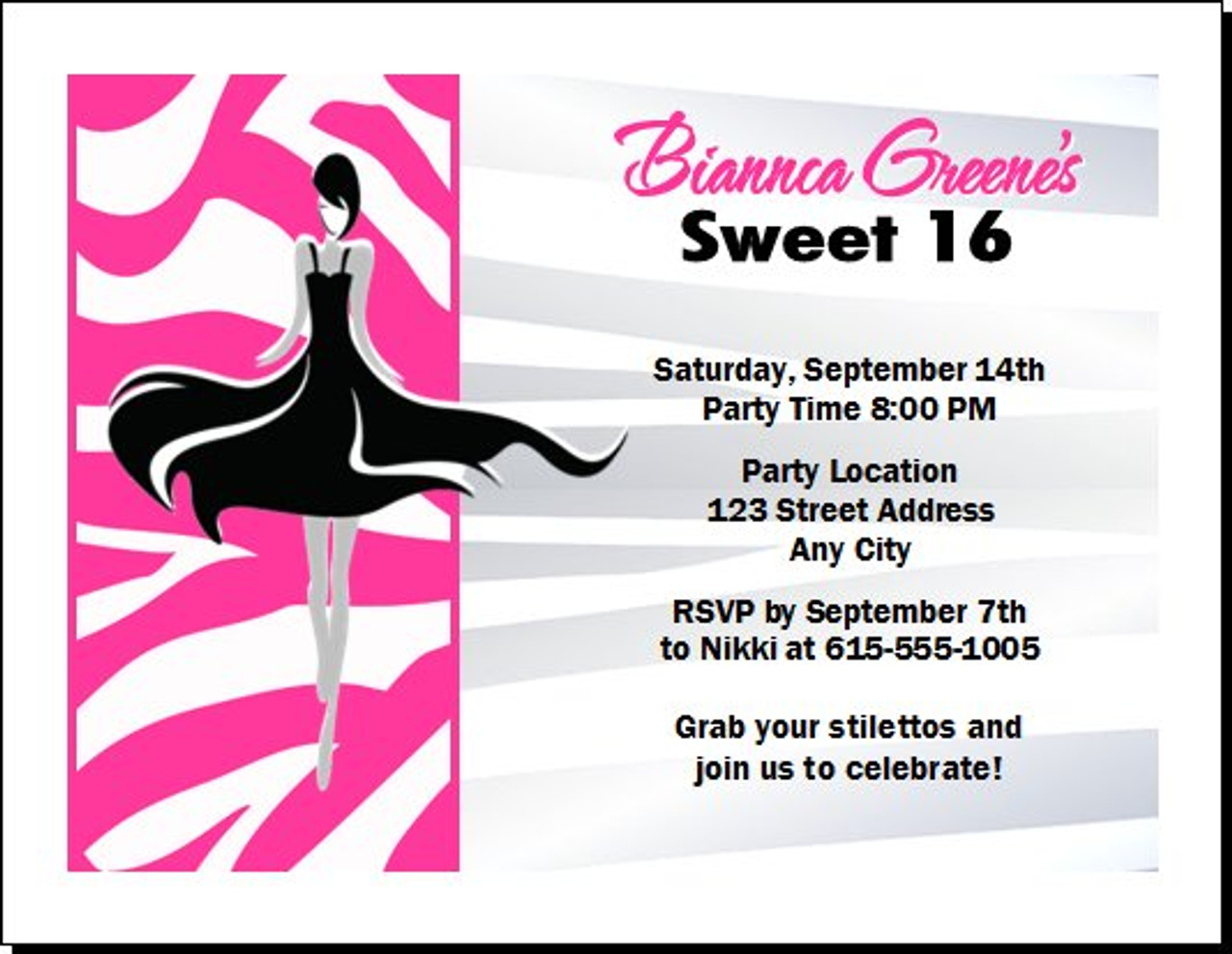 Zebra Birthday Party Invitation