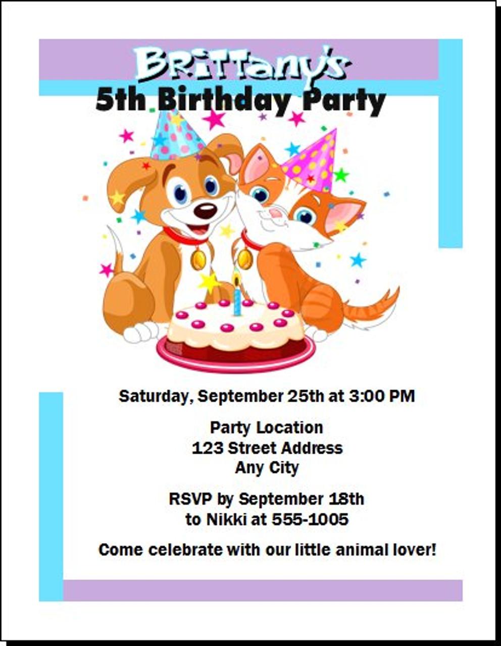 Puppy kitten birthday party invitation filmwisefo