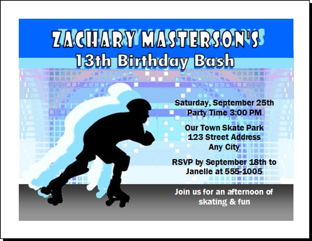 Roller skating male birthday party invitation filmwisefo