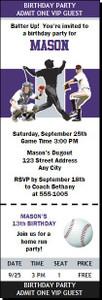 Colorado Rockies Colored Baseball Birthday Party Ticket Invitation