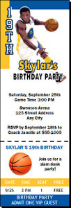 Golden State Warriors Colored Basketball Party Ticket Invitation