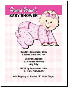 Asian Plaid Pink Baby Shower Invitation
