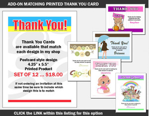 Printed Thank You Card Add-On Baby Shower