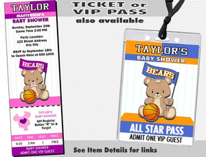 Basketball Teddy Bear Orange Baby Shower Party Invitation Other Styles