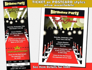 Red Carpet Paparazzi Birthday Party Invitation Other Styles