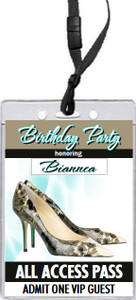 A Choo Stiletto Birthday Party VIP Pass Invitation