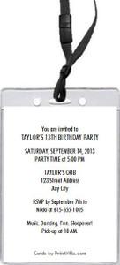Aqua Girl Birthday Party VIP Pass Invitation Back