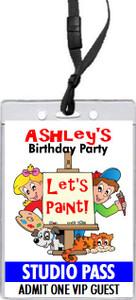 Art Birthday Party VIP Pass Invitation