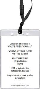 Art Birthday Party VIP Pass Invitation Back