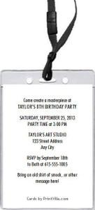 Artist Birthday Party VIP Pass Invitation Back