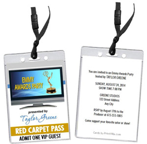 Emmy Awards Party VIP Pass Invitation Front and Back