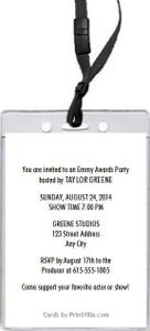 Emmy Awards Party VIP Pass Invitation Back