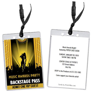 Music Awards Party Gold VIP Pass Invitation Front and Back