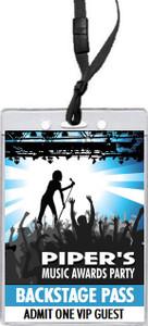 Music Awards Party Blue VIP Pass Invitation
