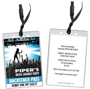 Music Awards Party Blue VIP Pass Invitation Front and Back