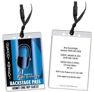 Music Awards Party Microphone VIP Pass Invitation Front and Back