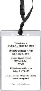 Ballerina Birthday Party VIP Pass Invitation Back