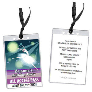 Ballerina Birthday Party VIP Pass Invitation Front and Back