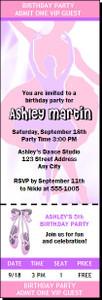 Ballerina Dancer Birthday Party Ticket Invitation