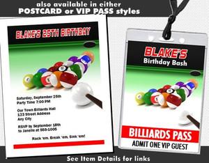 Billiards Birthday Party Ticket Invitation Other Styles